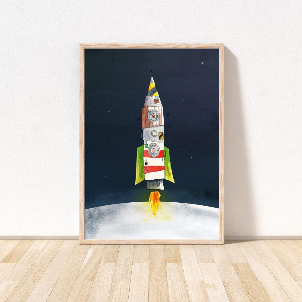 Poster-mit-Rakete-für-kinderzimmer
