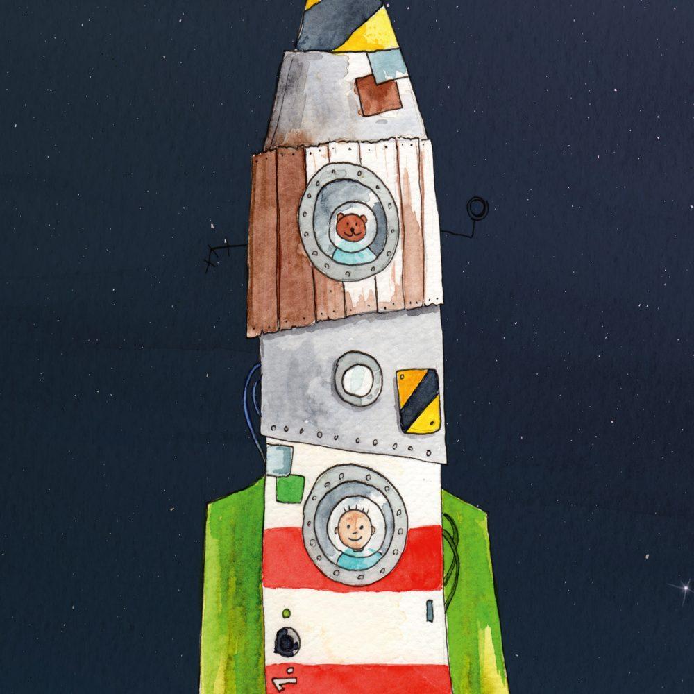 Raketen-Bild-Kinderzimmer