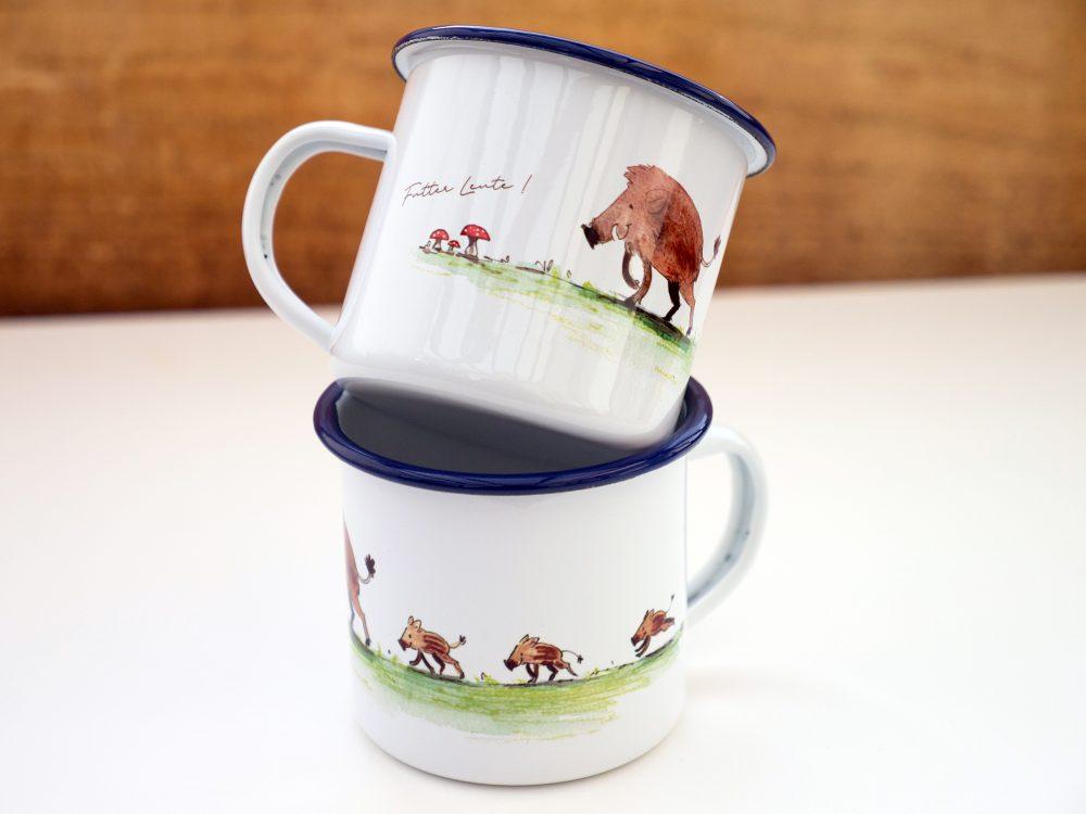 niedliche Emaille-Tasse mit Wildschweinen